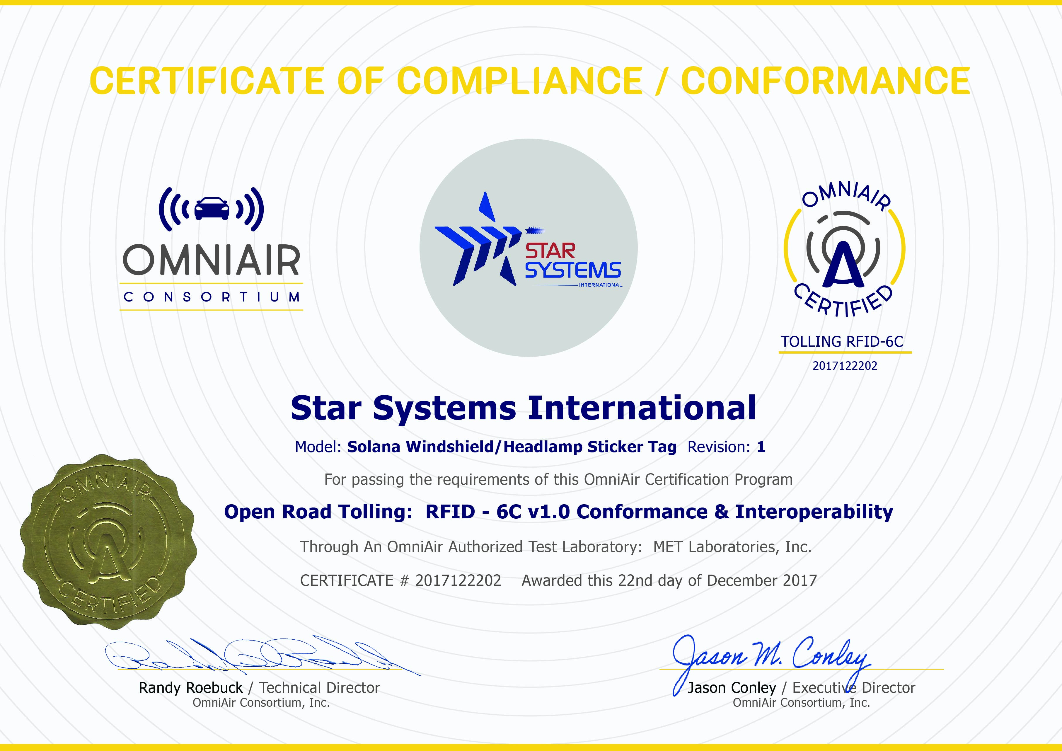 Omniair Consortium Certifies Two Devices For Tolling