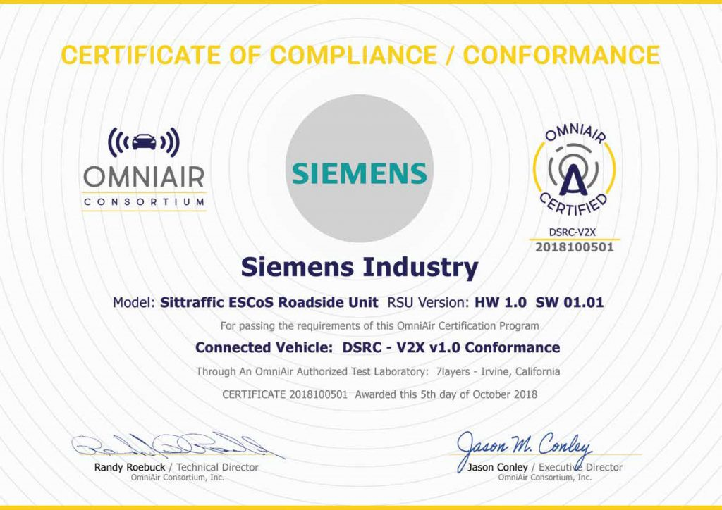 Omniair Consortium Grants First Certification For A Roadside Unit